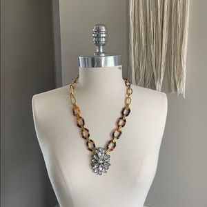 J. Crew Tortoise and Faux Diamond Necklace